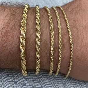 """Real Solid 925 Gold Rope Bracelet 5mm 7.5"""" - Multiple Sizes Available"""